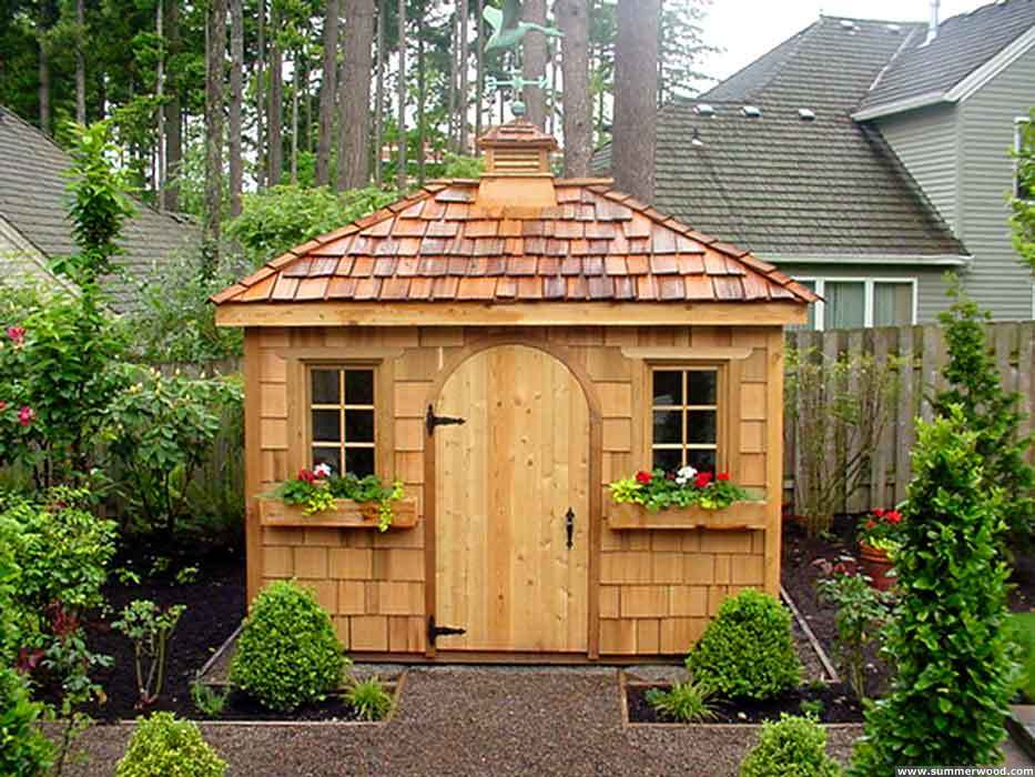 Summerwood products for garden sheds cabanas cabins for Garden cabana designs