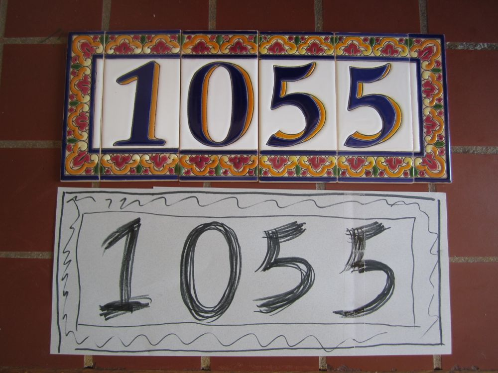 Mission Style House Number Tiles On