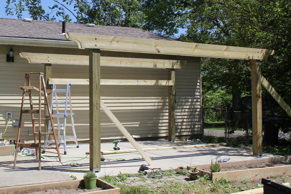 pergola-headers-up - How To Build A Pergola In Two Days On A Budget - Detailed How-To