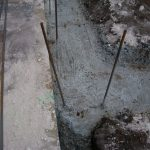 Rebar sticking out of a footer