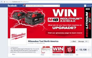 Milwaukee's Facebook Tool Giveaway Page