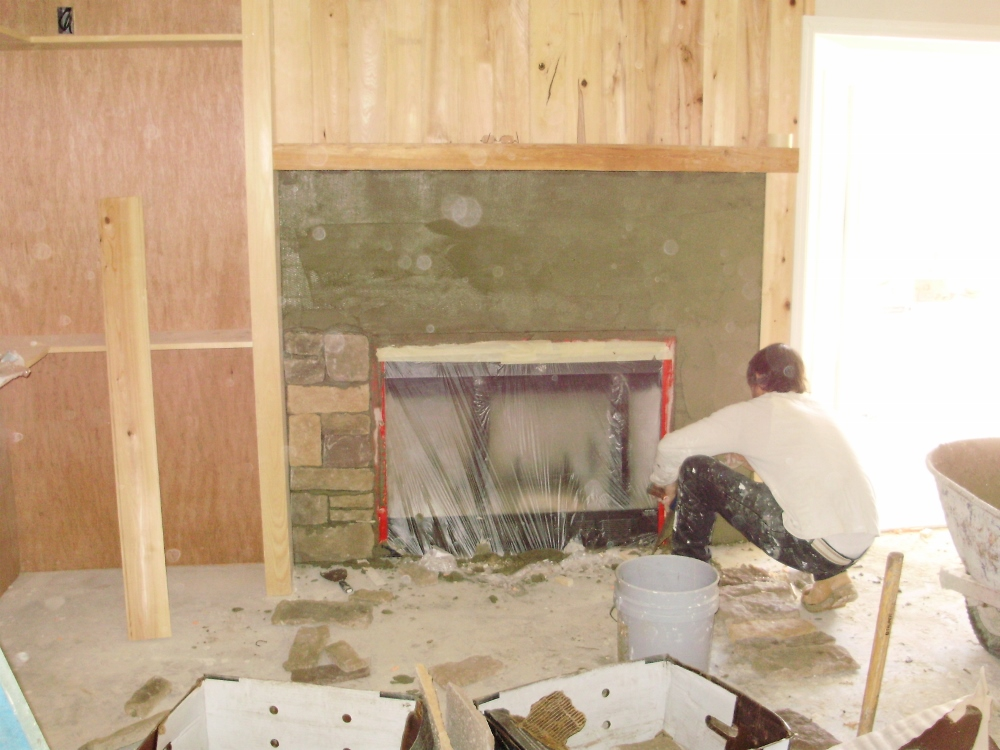 Installing Stone Veneer For A Stacked Stone Fireplace
