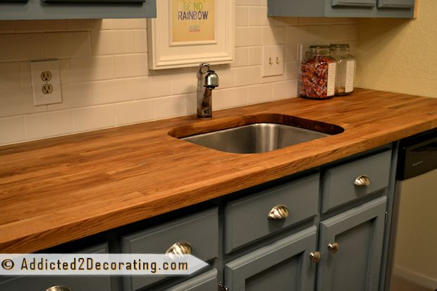 Butcher block countertops from ikea on the cheap for Installing butcher block countertops