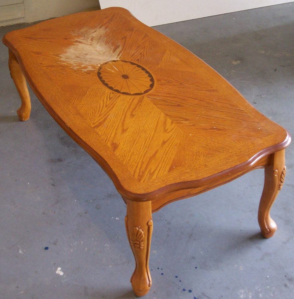 How To Refinish A Coffee Table And Remove A Bad Water Stain
