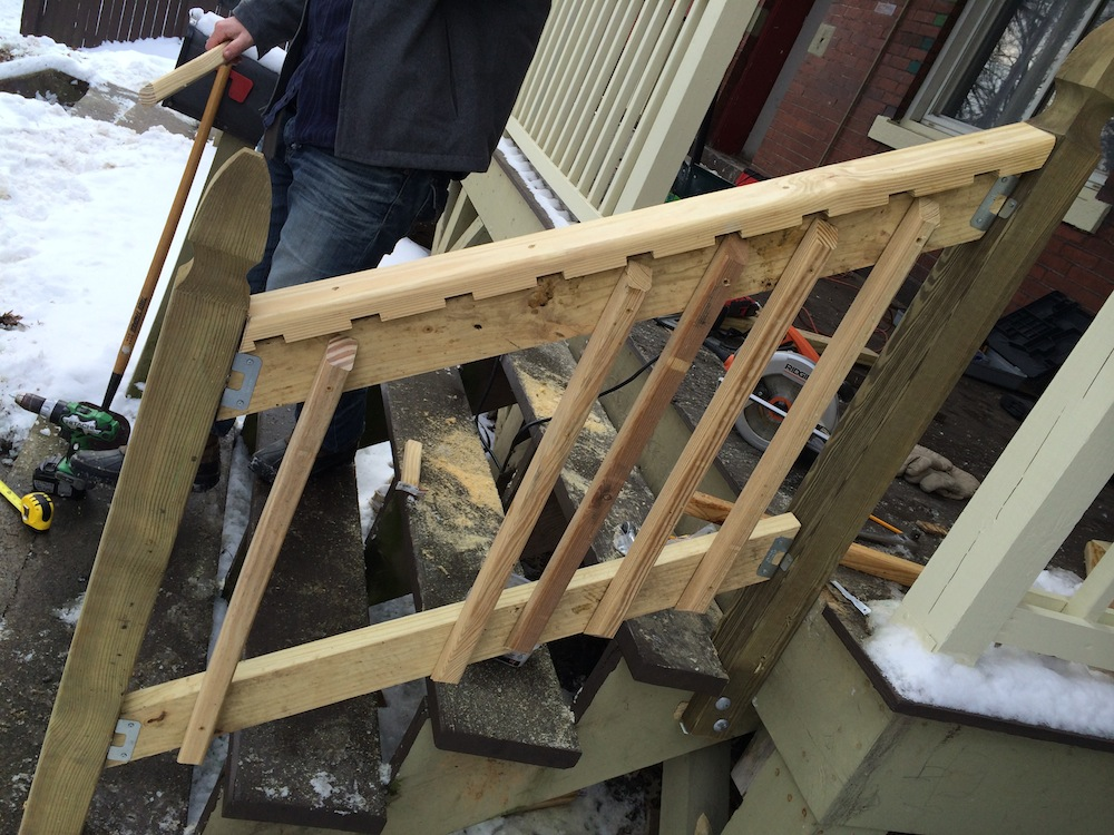 How to build a handrail for your porch safer stairs in 3 for How to build an inexpensive deck