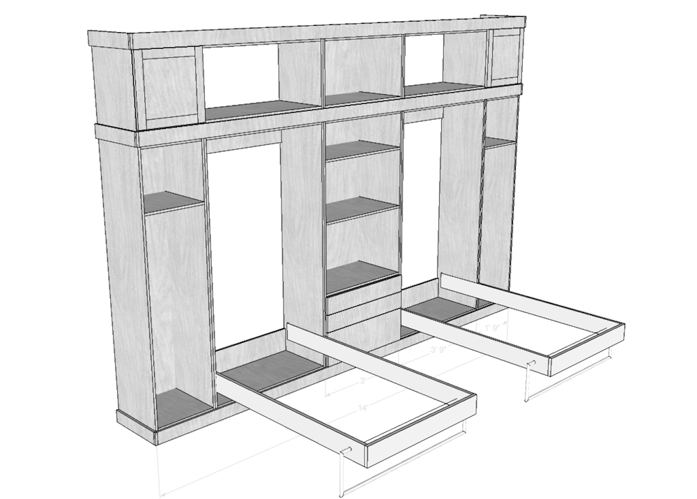 Lovely Shop drawings and cut lists were generated using Sketchup