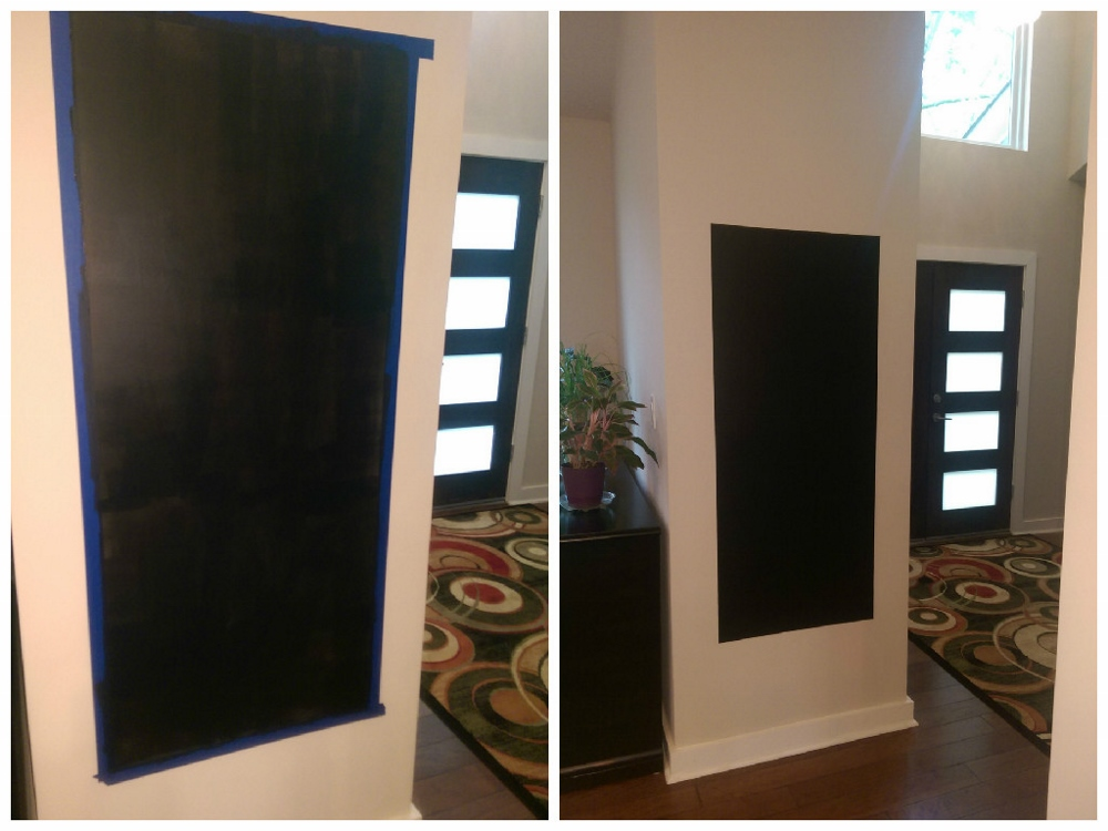 Left side after one coat, definitely need 2.  See how boring the right side looks without the frame???