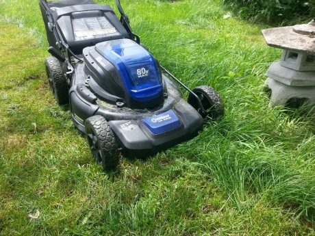 Damp grass is no match for the variable speed motor.
