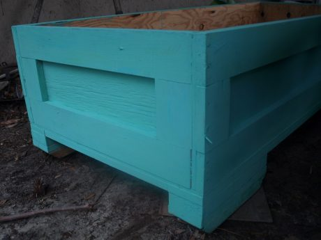 Another shot of the finished planter. It is not this blue in real life.
