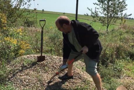 The Bosse shovel keeps you more upright.