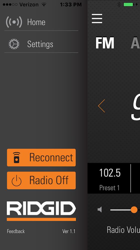 The Ridgid jobsite radio app, ready to do your bidding