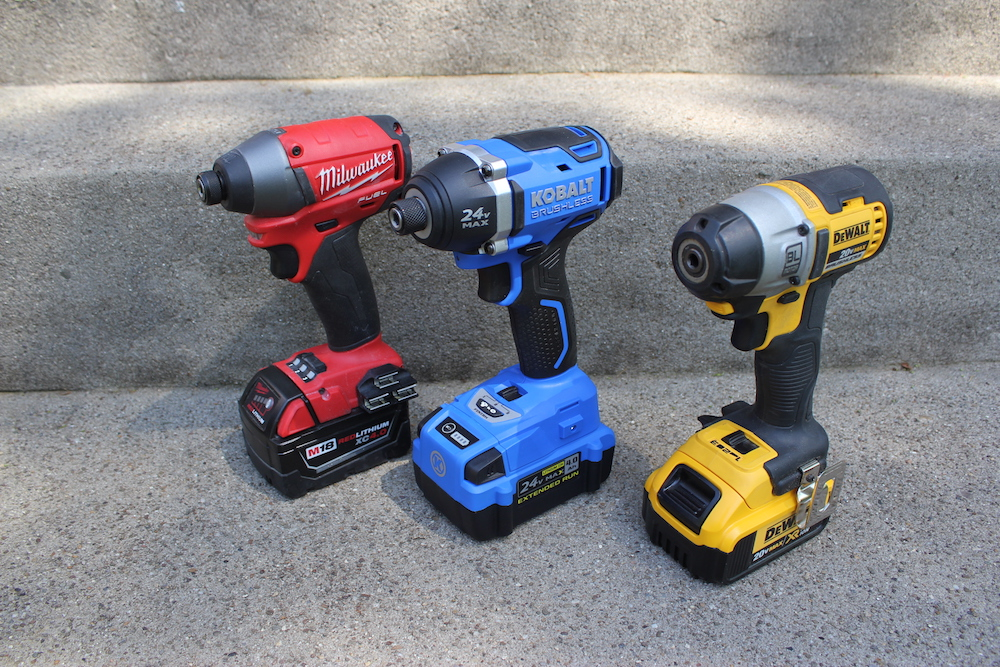 dewalt impact driver vs drill. the red, blue and yellow impact drivers, ready for their play date. dewalt driver vs drill i