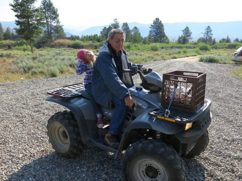 Not quite go-karting, but just as much fun. My daughter and Richard carry on the tradition of four wheel fun