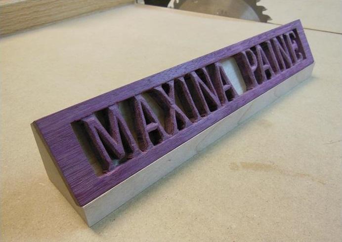 Maxina's name plate
