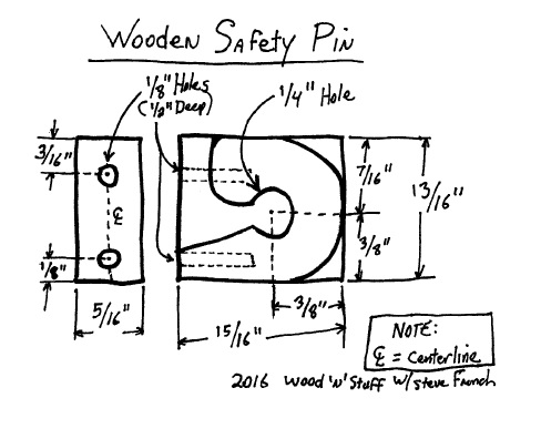 Wooden Safety Pin Layout Sketch