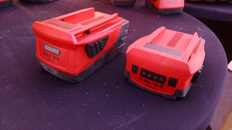 Hilti full size and compact 22-volt battery packs