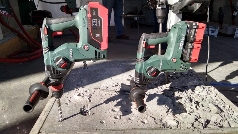 Metabo cordless rotary hammers with one 36-volt battery and two 18-volt batteries