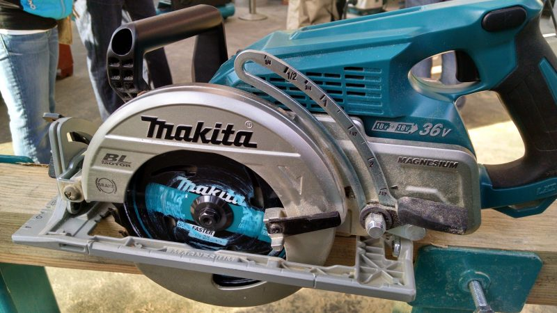 Makita inline circular saw, left view