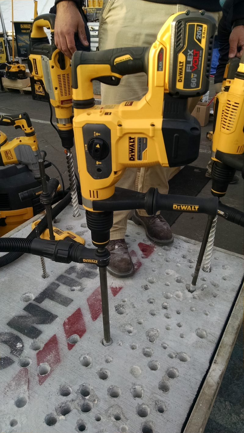 DeWalt cordless rotary hammer with hollow dust-collecting bit
