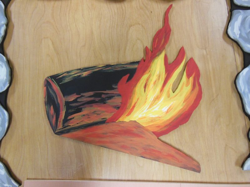 Log with flames