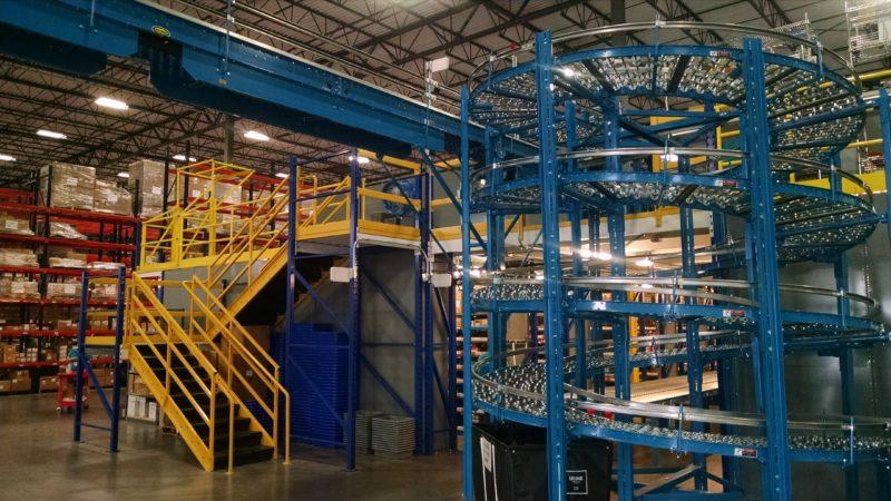 packing mezzanine with stairs and spiral conveyor