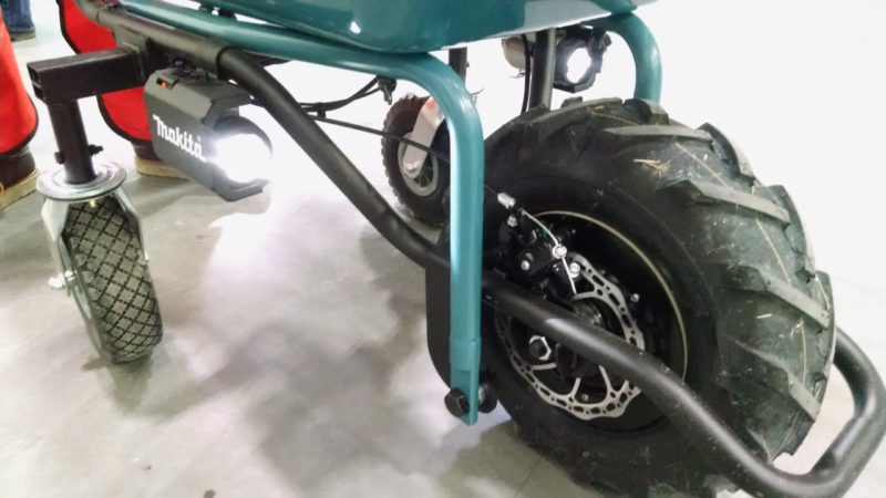 motorized wheelbarrow front end with large wheel, disc brake, and LED headlights