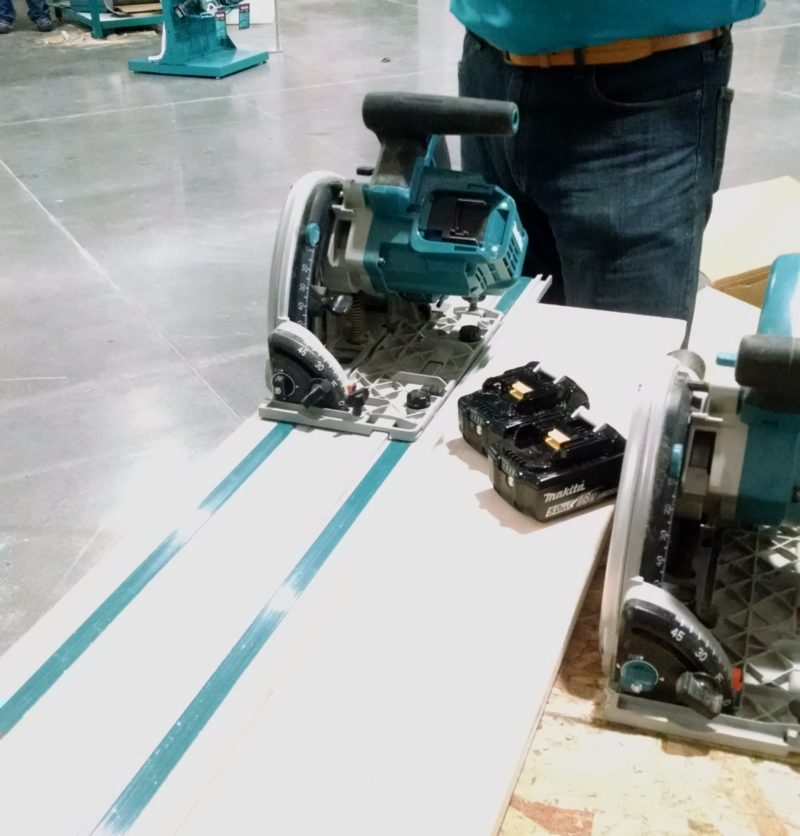 cordless X2 track saw on guide track