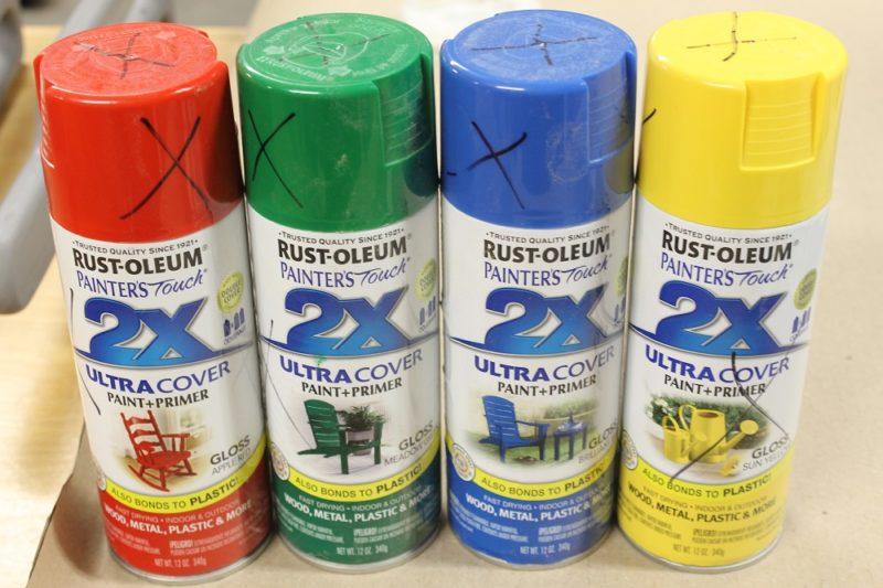Spray paint the bottle cap tambourine