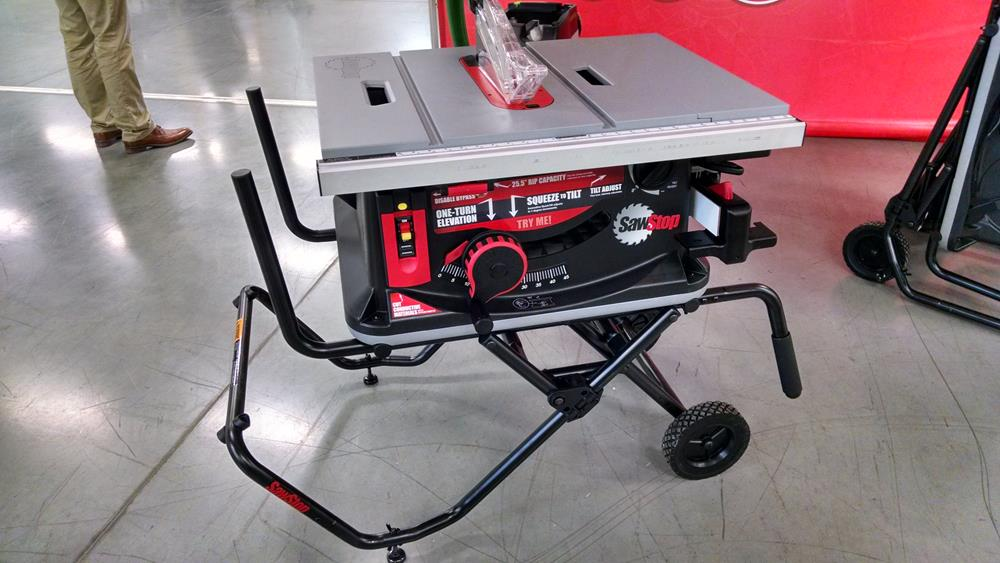 Portable table saw on mobile stand
