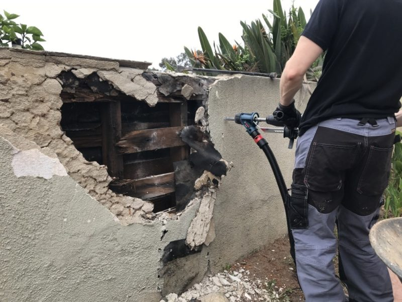 stucco wall demolition