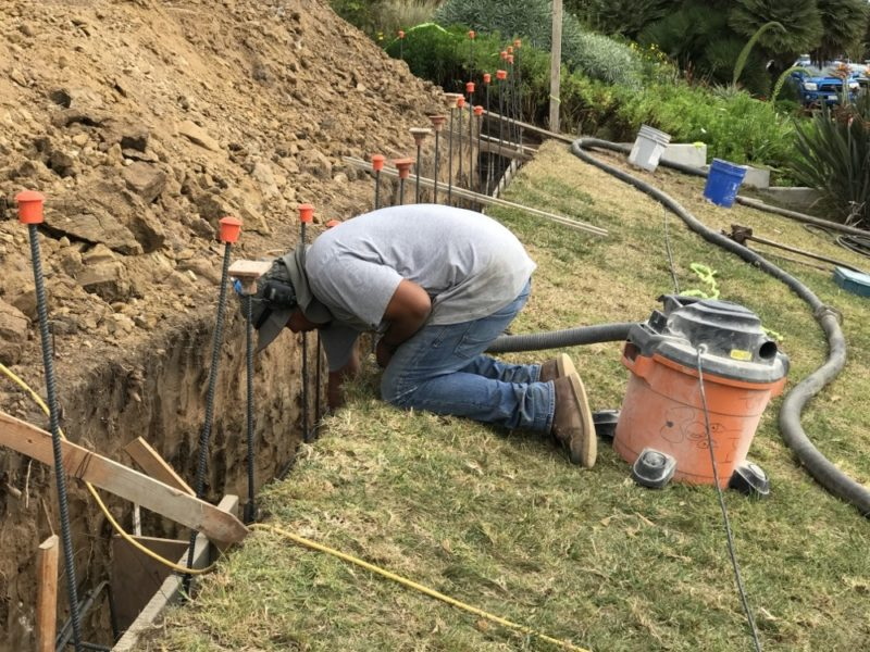 cleaning the footing trench