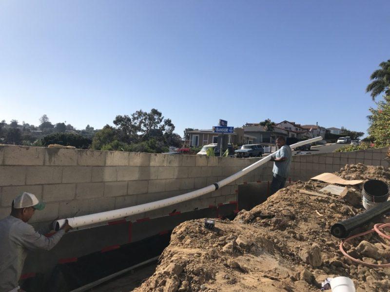 block wall drain pipe