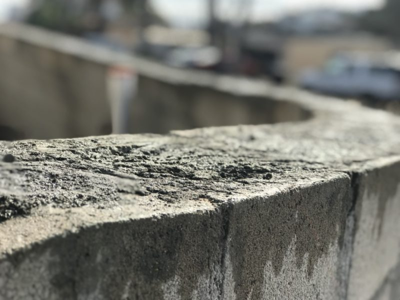 concrete block wall filled with grout