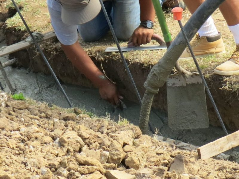 pouring the concrete footing