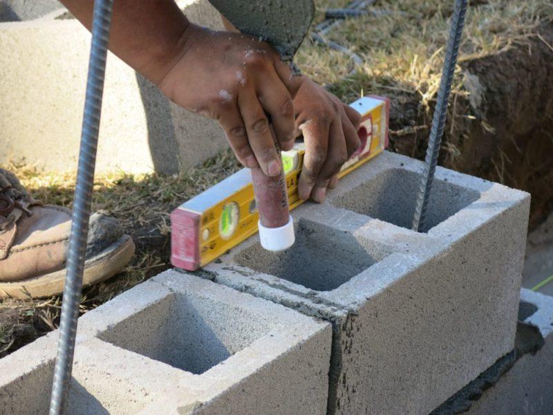 leveling each concrete block