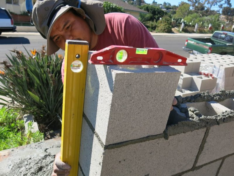 plumb and level the blocks