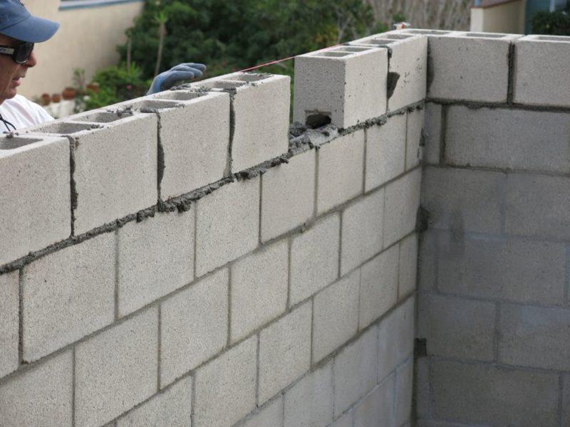 6 inch concrete block wall
