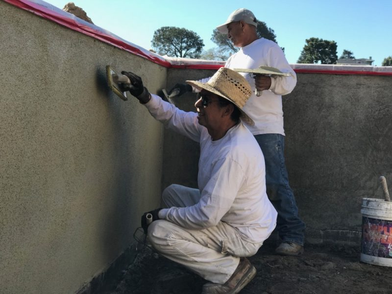 applying the stucco color coat