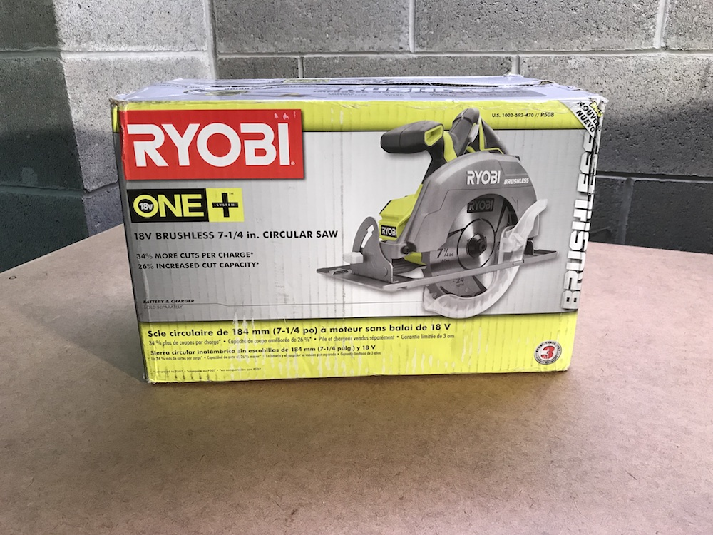 Ryobi p508 18v brushless circular saw review a full size blade at the bare tool version of the new ryobi p508 brushless 7 14 circular saw keyboard keysfo