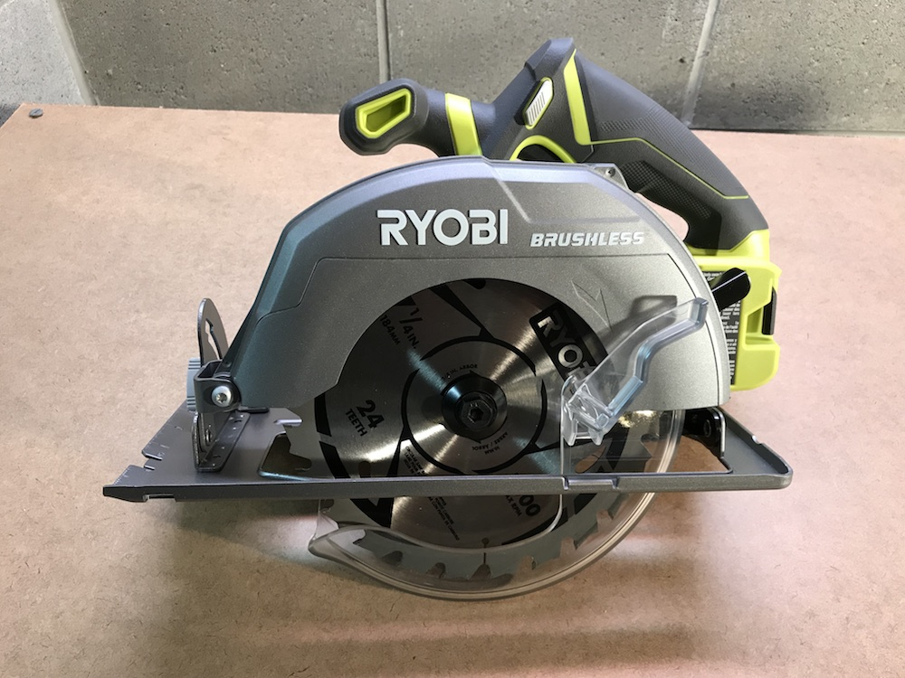 Ryobi p508 18v brushless circular saw review a full size blade at blade teeth on the bottom should face the front keyboard keysfo Gallery