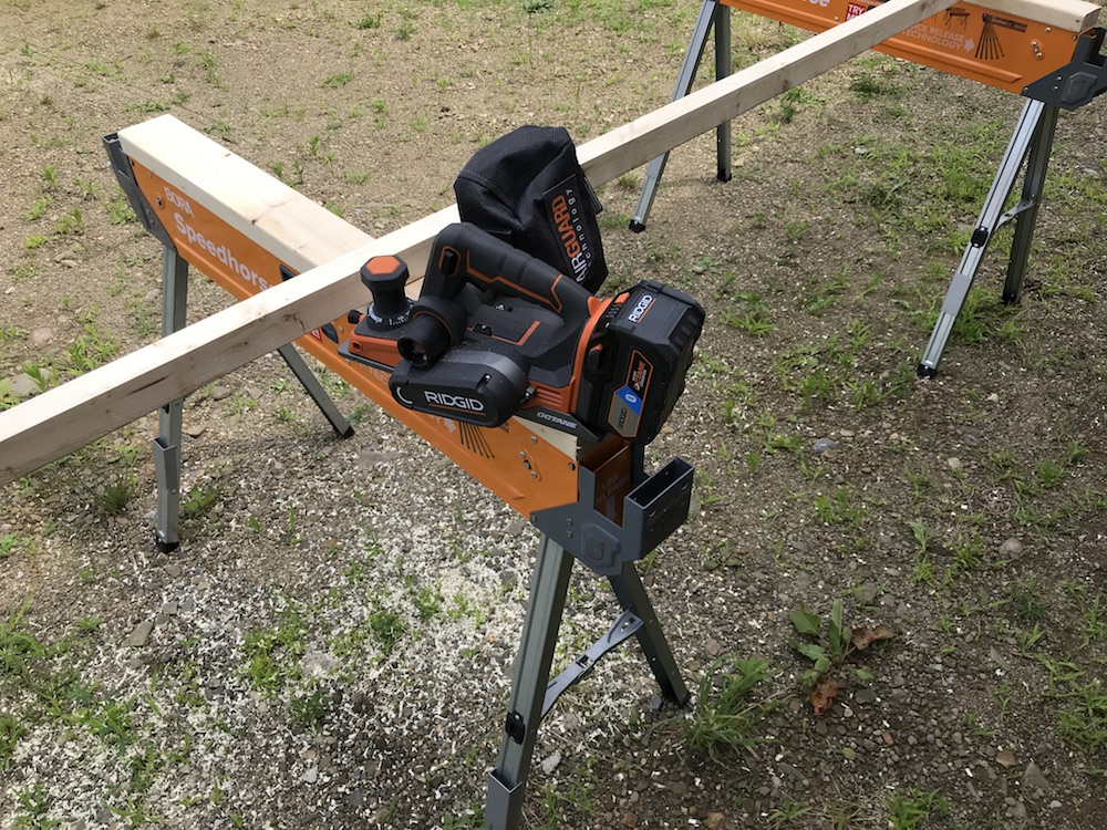 planer on sawhorse