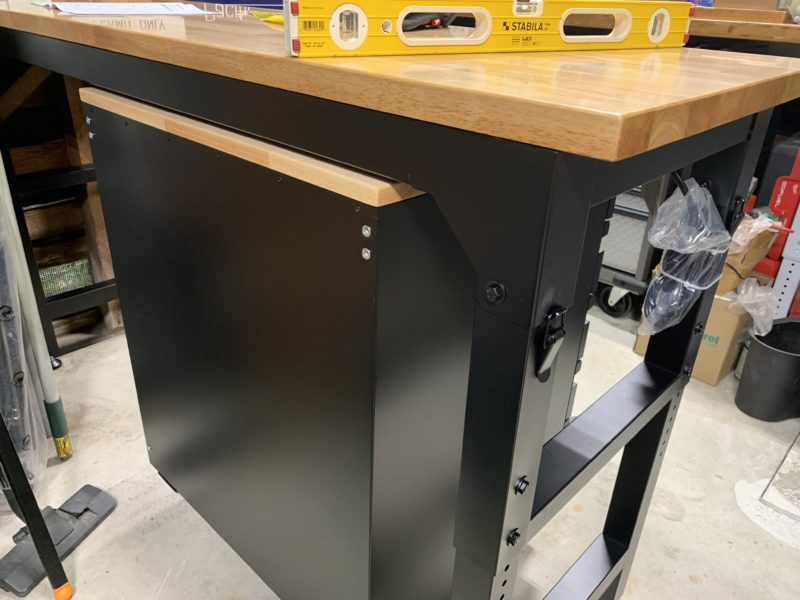 husky workbench and drawers from the back