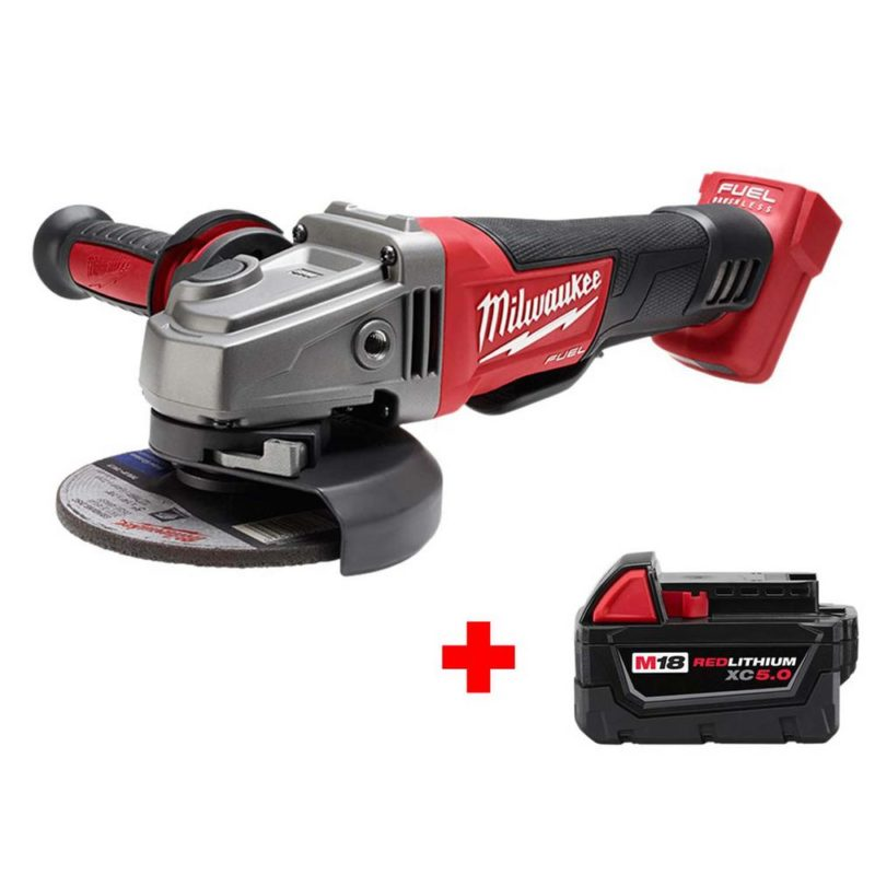 Milwaukee M18 FUEL 18-Volt Lithium-Ion Brushless Cordless 4-1/2 in./5 in. Grinder with Paddle Switch with Free M18 5.0Ah Battery