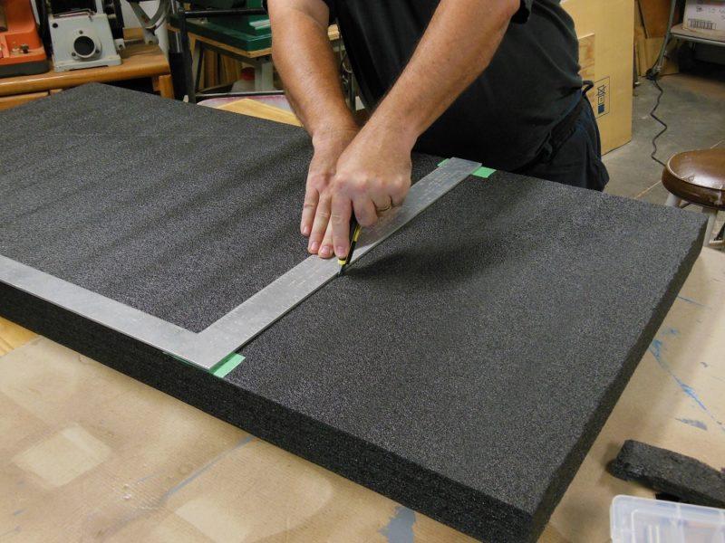 Straight cuts in kaizen foam.