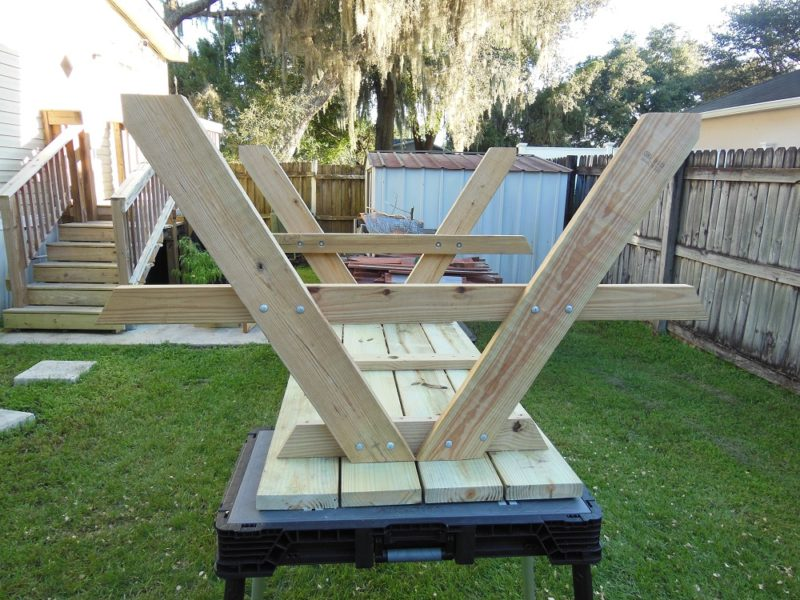 Bench supports in place.