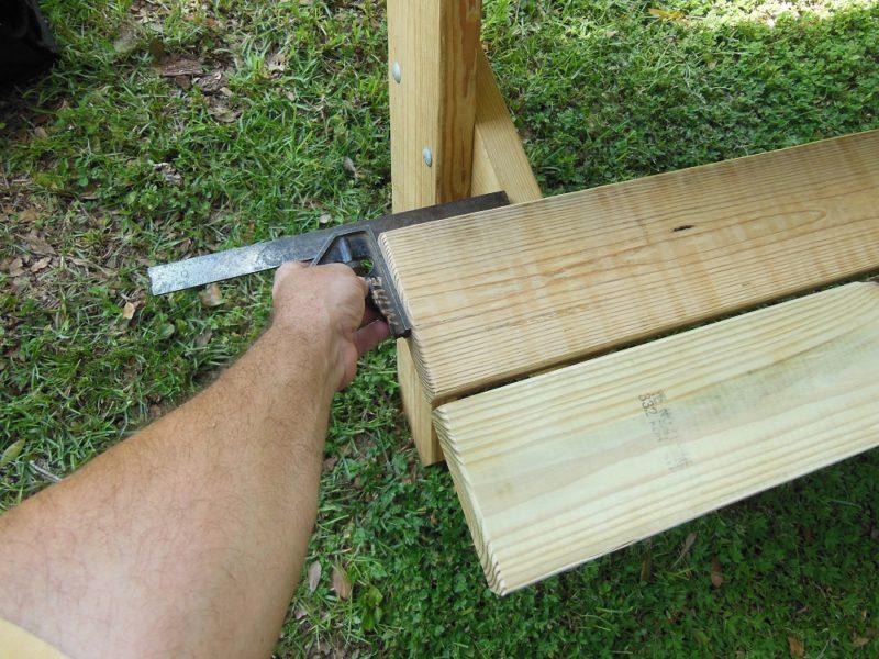 Centering the bench slats.