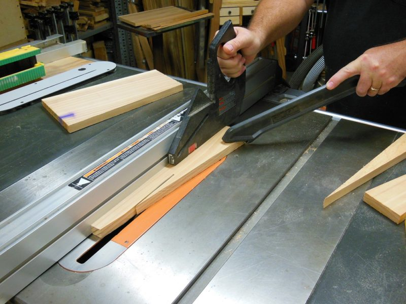 Cutting the tapered ramps.