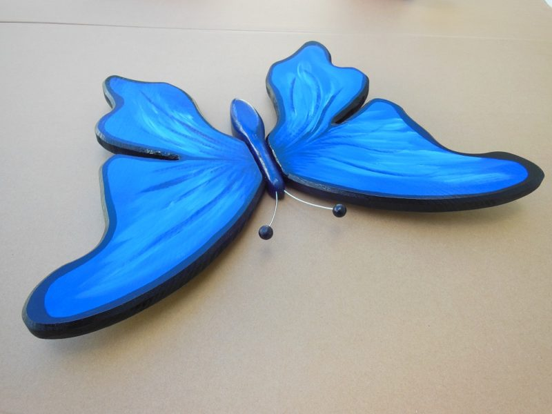 Completed wooden butterfly wall art.