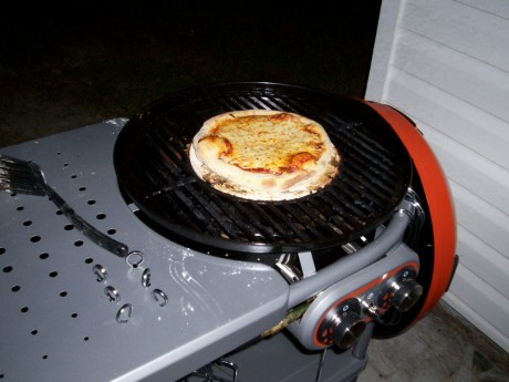 Fresh pizza hot off the grill