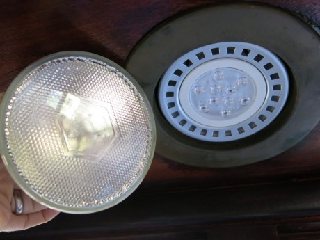 Traditional flood (left) is less of a modernist fashion statement than its LED replacement (right)
